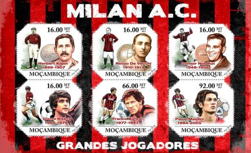 francobolli del Mozambico dedicati al Milan