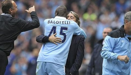 Britain Soccer Premier League Balotelli-Mancini