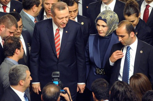 Turkish Prime Minister Recep Tayyip Erdogan arrives to reception at parliament
