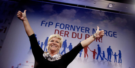Siv Jensen, leader del Partito del Progresso norvegese